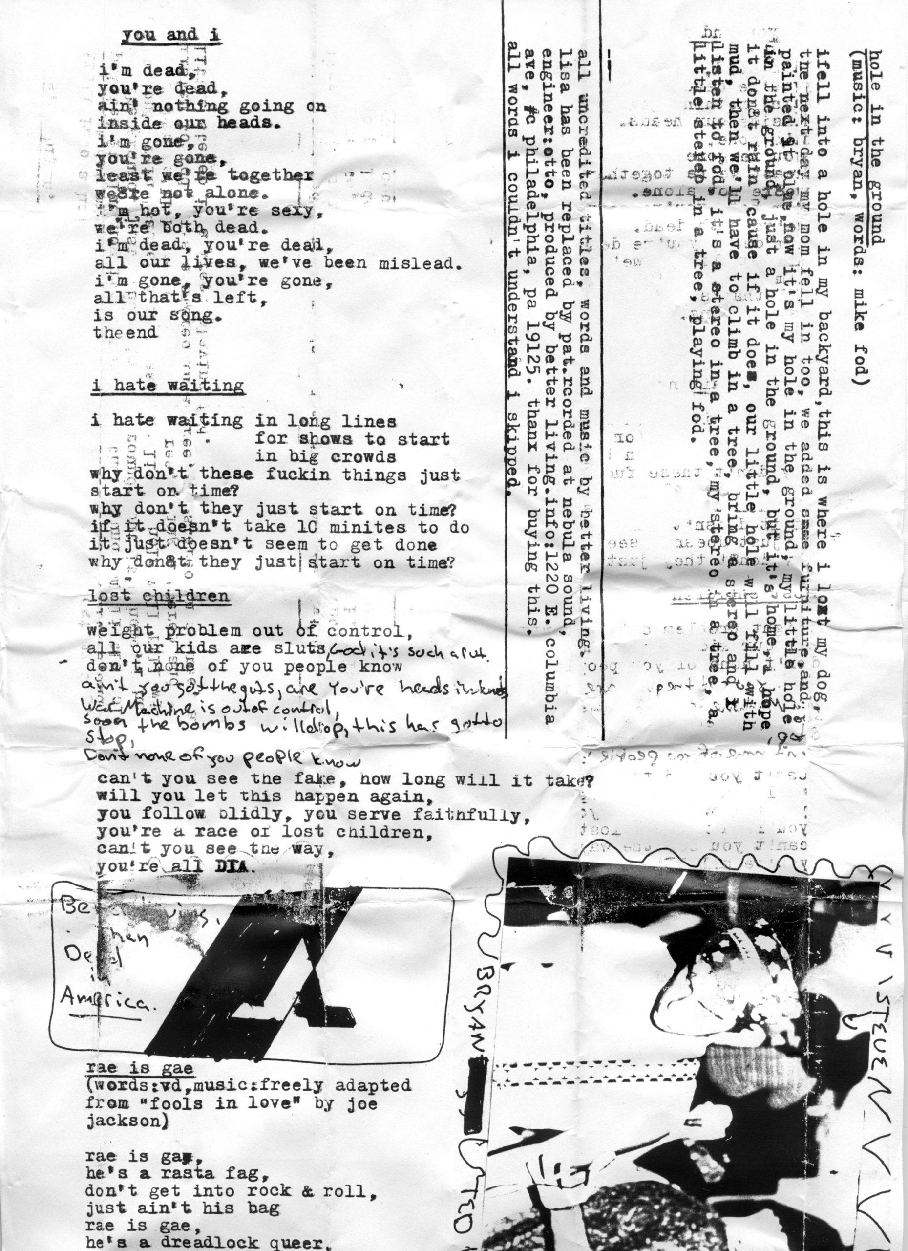 lyric sheet 1