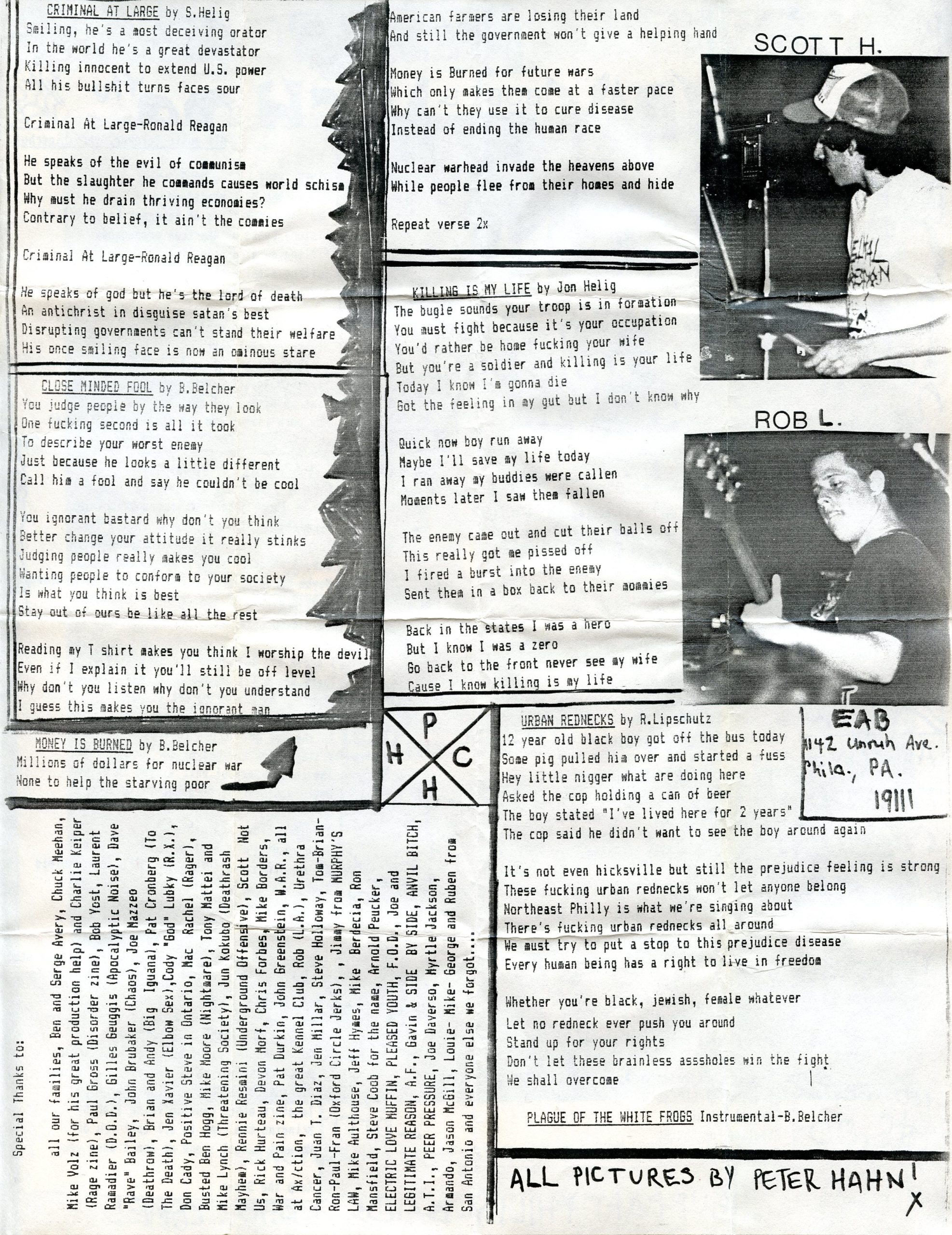 lyric sheet b