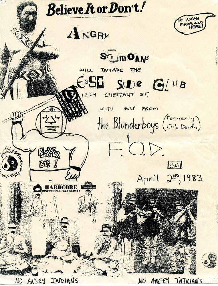 Angry Somoans @ East Side Club, Philadelphia 4-02-83